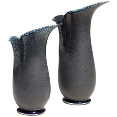 """Barbarico"" by Barovier & Toso Glass Murano Bird Pair of Vases"