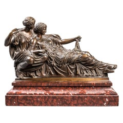 Barbedienne French Neoclassical Revival Bronze Model of Reclining Muses