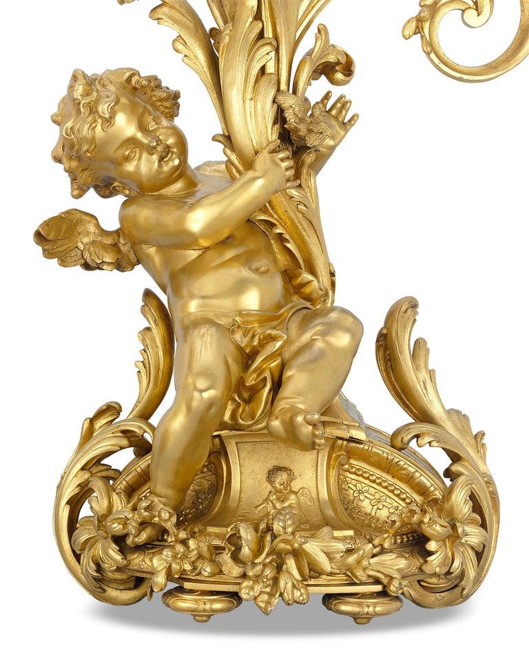 Napoleon III Barbedienne Gilt Bronze Candelabra For Sale