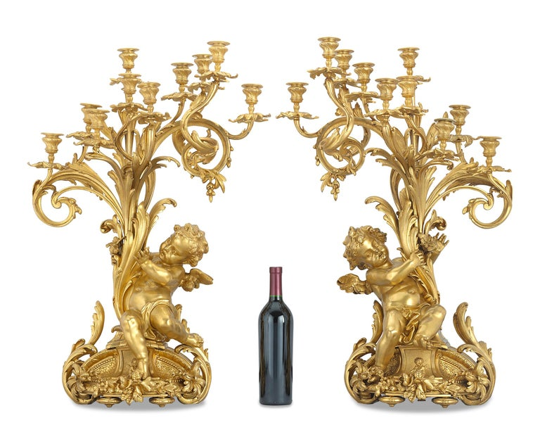 Barbedienne Gilt Bronze Candelabra In Excellent Condition For Sale In New Orleans, LA