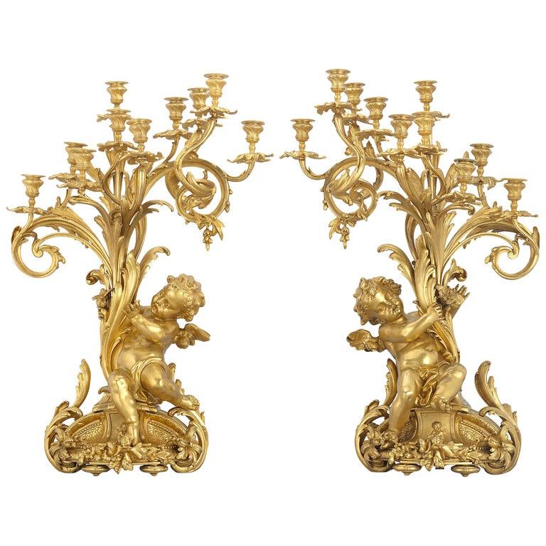 Barbedienne Gilt Bronze Candelabra For Sale