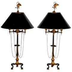 Barbedienne Style Black Candelabra Lamps