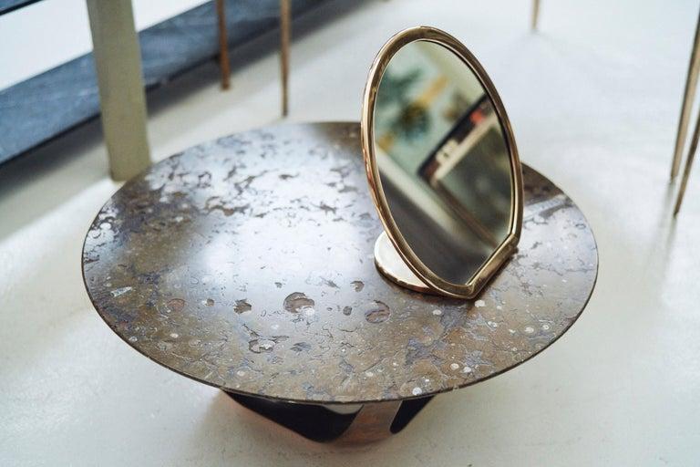 Australian Barbera 'Bronze' Makeup Mirror, Cast Solid Bronze For Sale