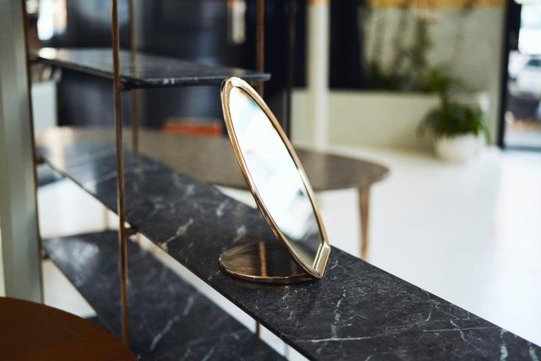 Blackened Barbera 'Bronze' Makeup Mirror, Cast Solid Bronze For Sale