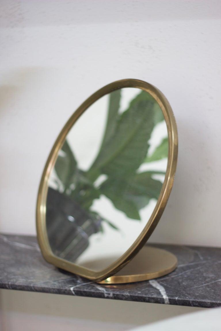 Contemporary Barbera 'Bronze' Makeup Mirror, Cast Solid Bronze For Sale