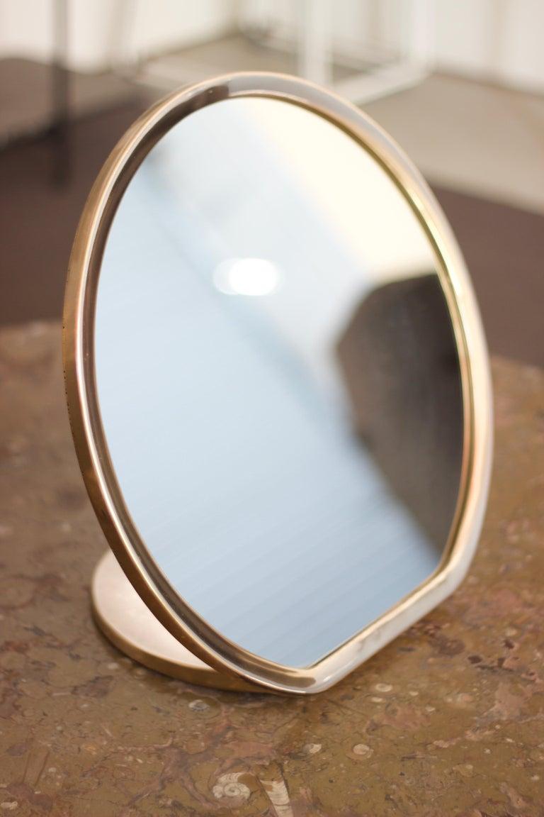 Metal Barbera 'Bronze' Makeup Mirror, Cast Solid Bronze For Sale