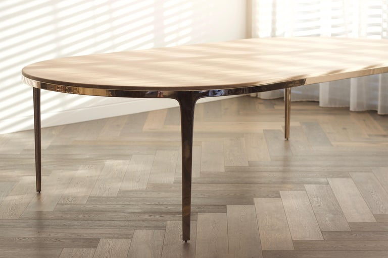 Post-Modern Barbera 'Bronze' Oval Table, Modern Solid Bronze Base with Timber Top For Sale