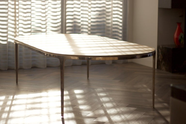 Australian Barbera 'Bronze' Oval Table, Modern Solid Bronze Base with Timber Top For Sale