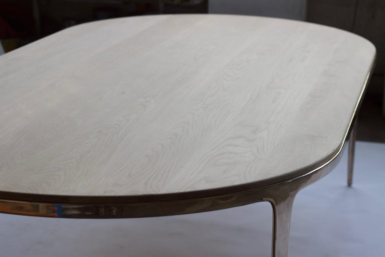 Blackened Barbera 'Bronze' Oval Table, Modern Solid Bronze Base with Timber Top For Sale