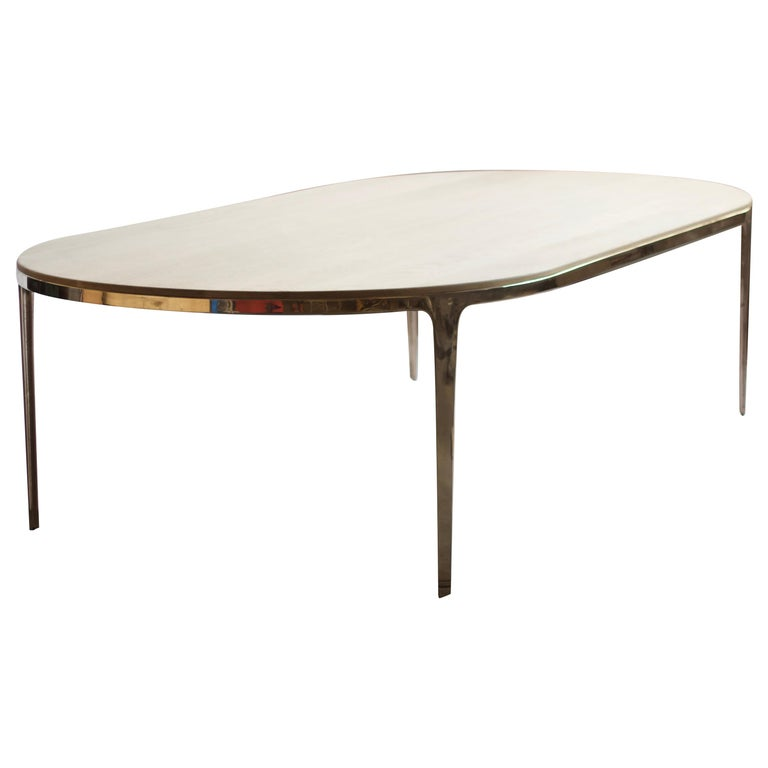 Barbera 'Bronze' Oval Table, Modern Solid Bronze Base with Timber Top For Sale