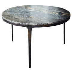 Barbera 'Bronze' Round Table, Modern Solid Bronze Base with Granite Stone Top