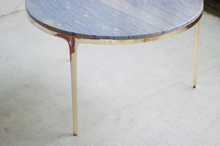Post-Modern Barbera 'Bronze' Round Table, Modern Solid Bronze Base with Stone Top For Sale