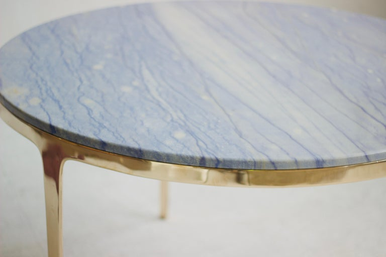 Australian Barbera 'Bronze' Round Table, Modern Solid Bronze Base with Stone Top For Sale