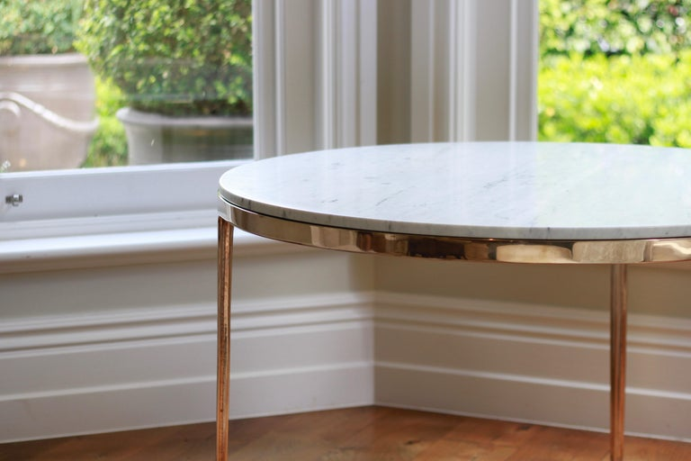 Blackened Barbera 'Bronze' Round Table, Modern Solid Bronze Base with Stone Top For Sale