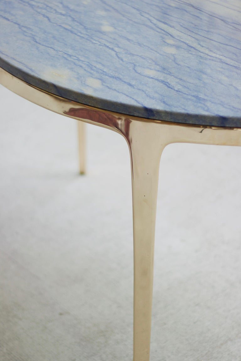 Polished Barbera 'Bronze' Round Table, Modern Solid Bronze Base with Stone Top For Sale