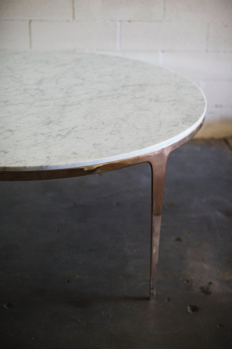 Barbera 'Bronze' Round Table, Modern Solid Bronze Base with Stone Top In New Condition For Sale In Melbourne, Victoria