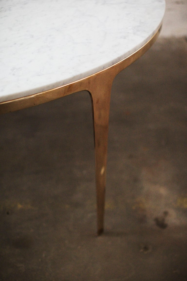Metal Barbera 'Bronze' Round Table, Modern Solid Bronze Base with Stone Top For Sale