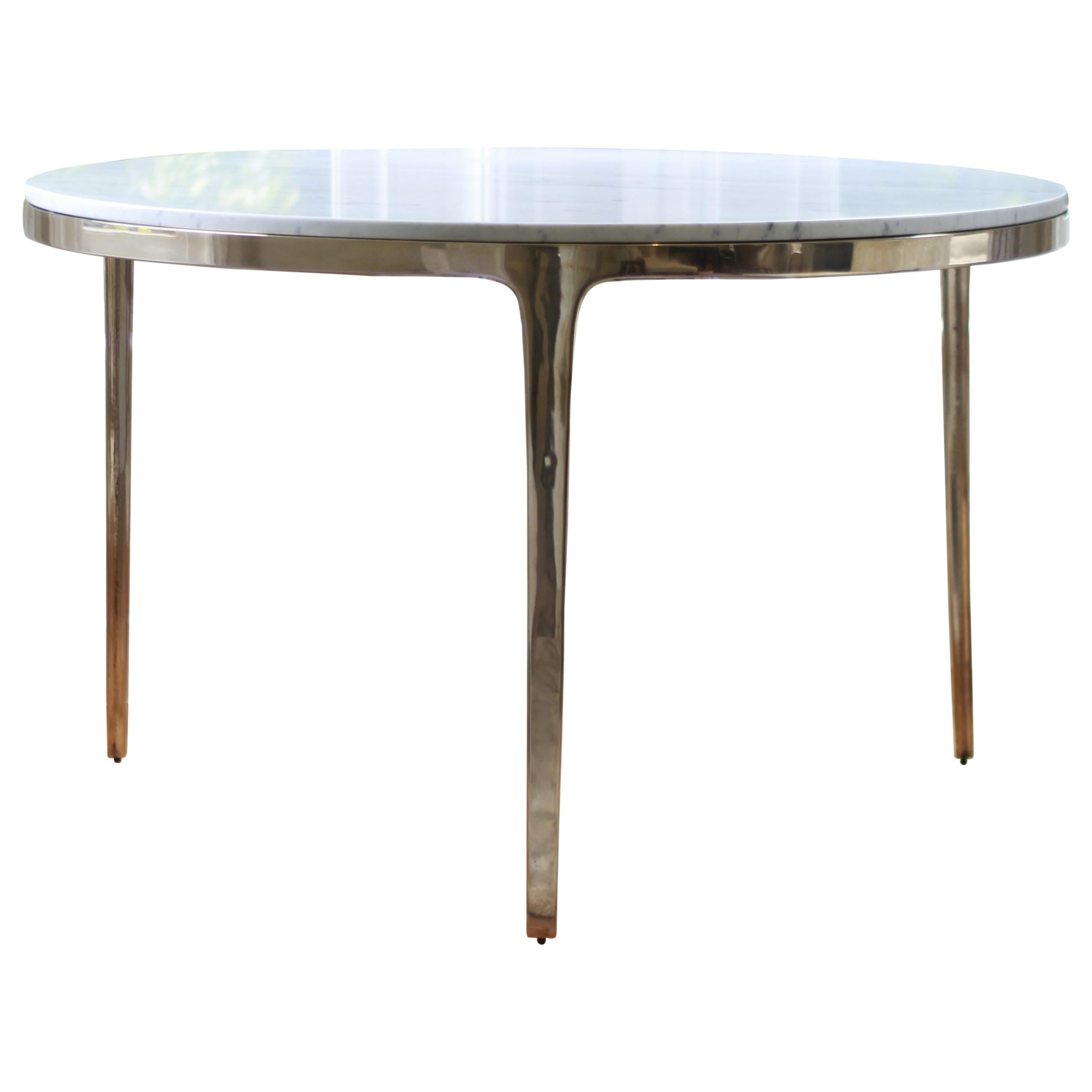 Barbera 'Bronze' Round Table, Modern Solid Bronze Base with Stone Top