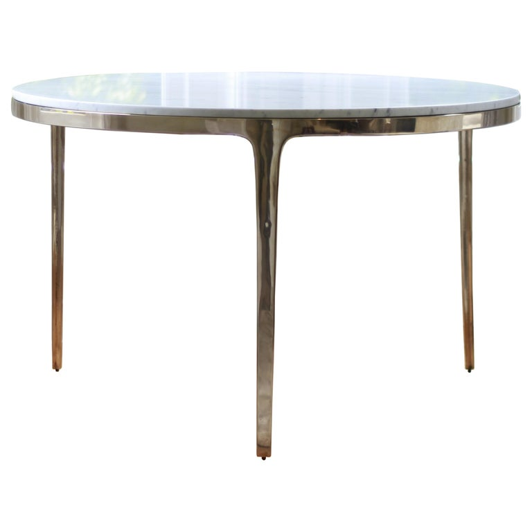 Barbera 'Bronze' Round Table, Modern Solid Bronze Base with Stone Top For Sale