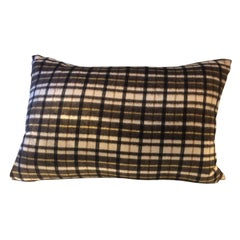 Barbera Cashmere Cushion Black and Brown Woven Check Pattern on Ivory