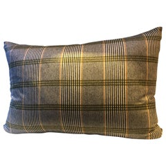 Barbera Cashmere Cushion Black and Lime Woven Check Pattern on Ivory