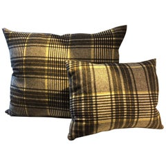 Barbera Cashmere Cushion Black, Ivory, Cinnamon, Lime Woven Check Pattern