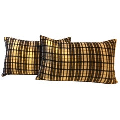 Barbera Cashmere Cushions Black and Brown Woven Check Pattern on Ivory