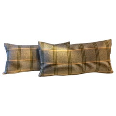 Barbera Cashmere Cushions Black and Lime Woven Check Pattern on Ivory