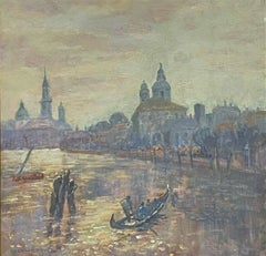 1970's MODERN BRITISH ENGLISH IMPRESSIONIST OIL PAINTING - GRAND CANAL VENICE