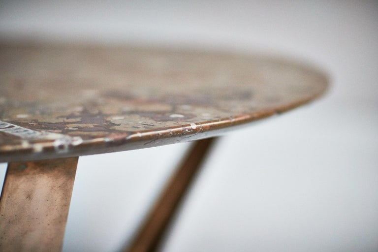Blackened Barbera Heron Round Coffee Table, Modern Solid Bronze Base with Stone Top For Sale