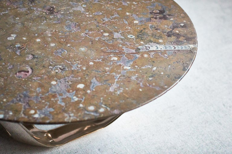 Barbera Heron Round Coffee Table, Modern Solid Bronze Base with Stone Top In New Condition For Sale In Melbourne, Victoria