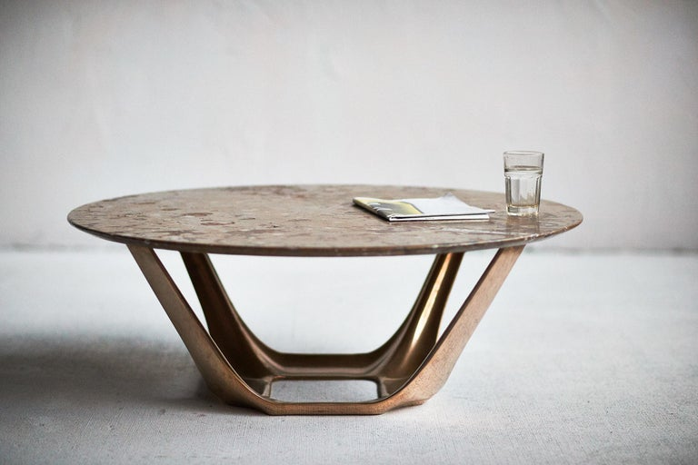 Contemporary Barbera Heron Round Coffee Table, Modern Solid Bronze Base with Stone Top For Sale