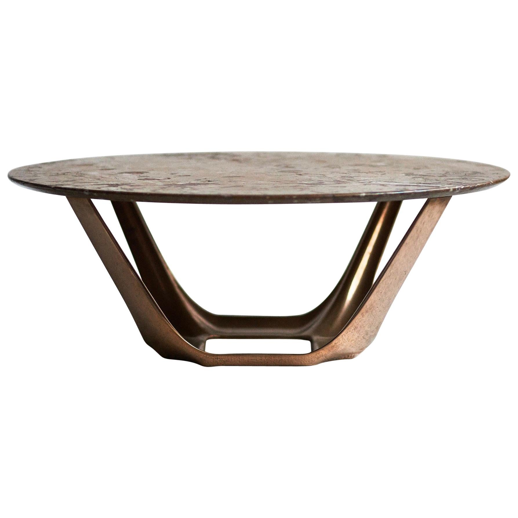 Barbera Heron Round Coffee Table, Modern Solid Bronze Base with Stone Top