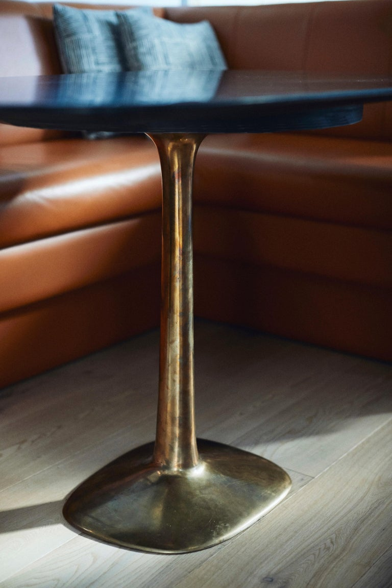 Post-Modern Barbera 'Molecule' Table, Modern Solid Bronze Base with Stone Top For Sale