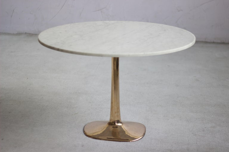Australian Barbera 'Molecule' Table, Modern Solid Bronze Base with Stone Top For Sale