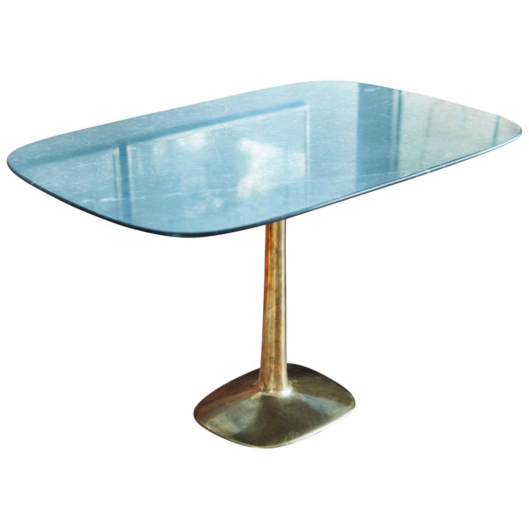 Barbera 'Molecule' Table, Modern Solid Bronze Base with Stone Top For Sale