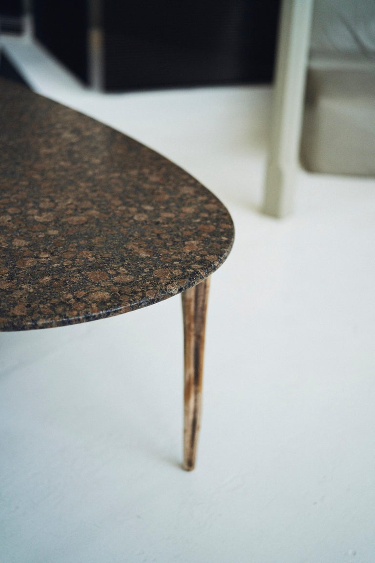 Barbera 'OSSO' Oval Dining Table, Modern Solid Bronze Base with Stone Top For Sale 2