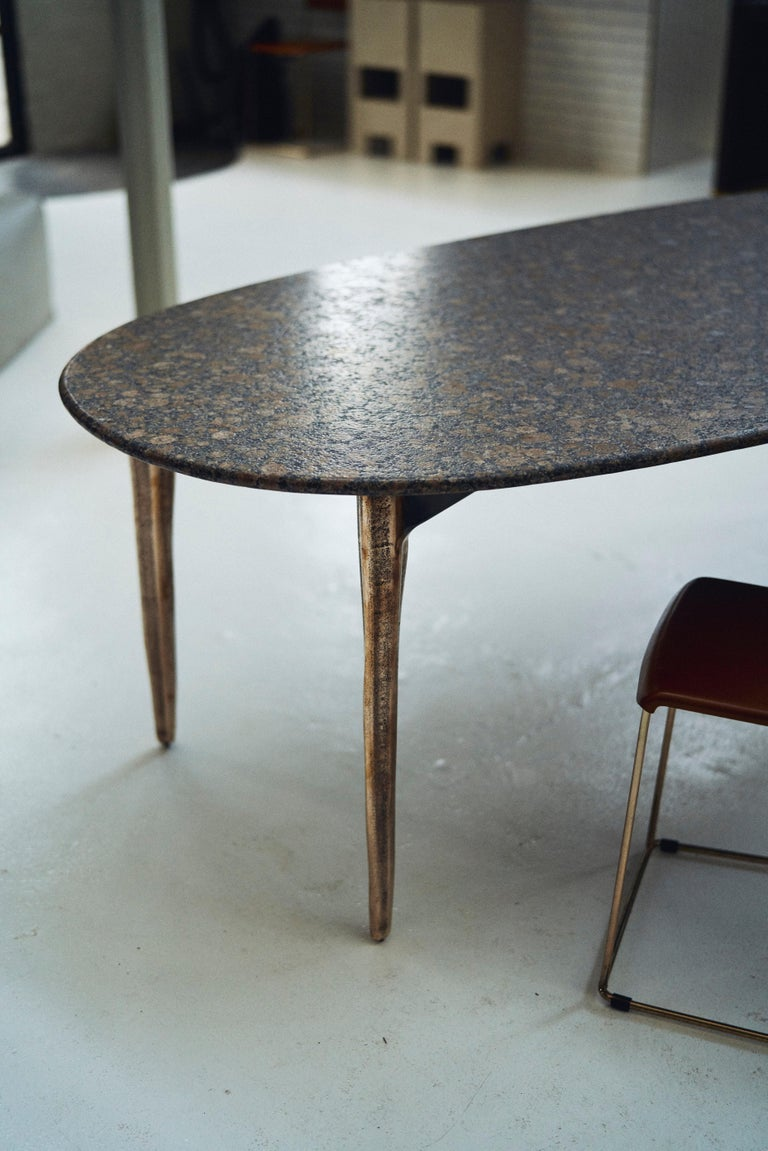 Barbera 'OSSO' Oval Dining Table, Modern Solid Bronze Base with Stone Top For Sale 3