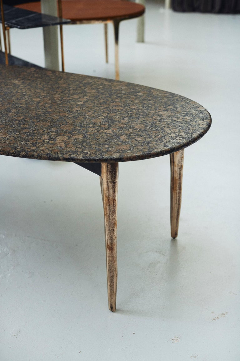 Post-Modern Barbera 'OSSO' Oval Dining Table, Modern Solid Bronze Base with Stone Top For Sale