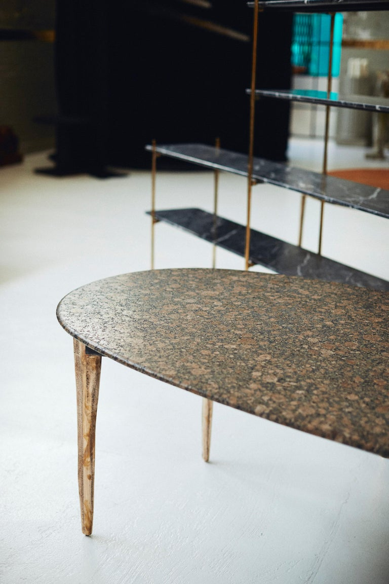 Australian Barbera 'OSSO' Oval Dining Table, Modern Solid Bronze Base with Stone Top For Sale