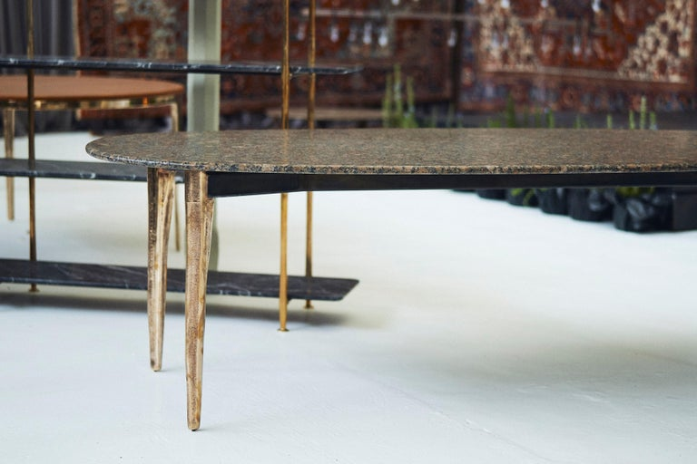 Blackened Barbera 'OSSO' Oval Dining Table, Modern Solid Bronze Base with Stone Top For Sale