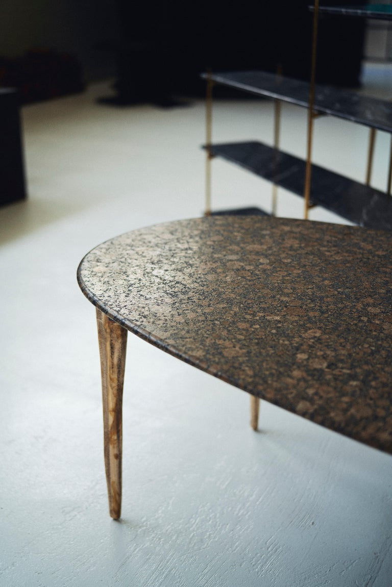 Barbera 'OSSO' Oval Dining Table, Modern Solid Bronze Base with Stone Top In New Condition For Sale In Melbourne, Victoria