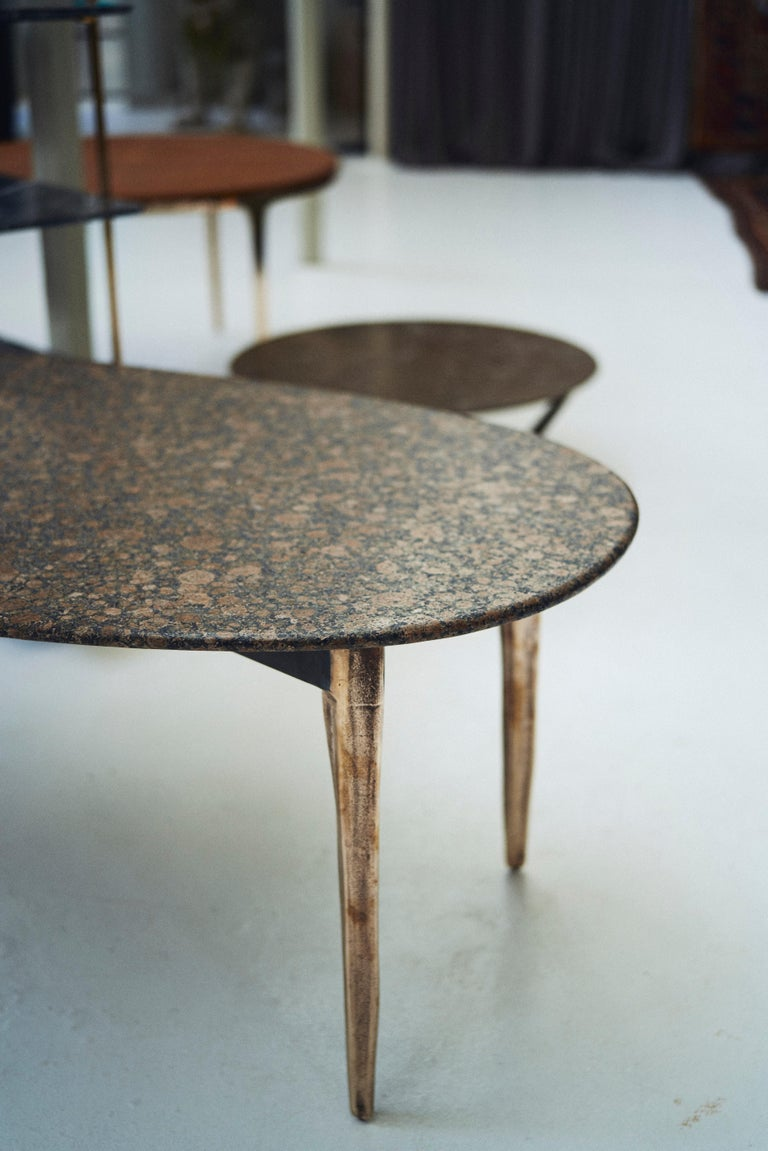 Contemporary Barbera 'OSSO' Oval Dining Table, Modern Solid Bronze Base with Stone Top For Sale