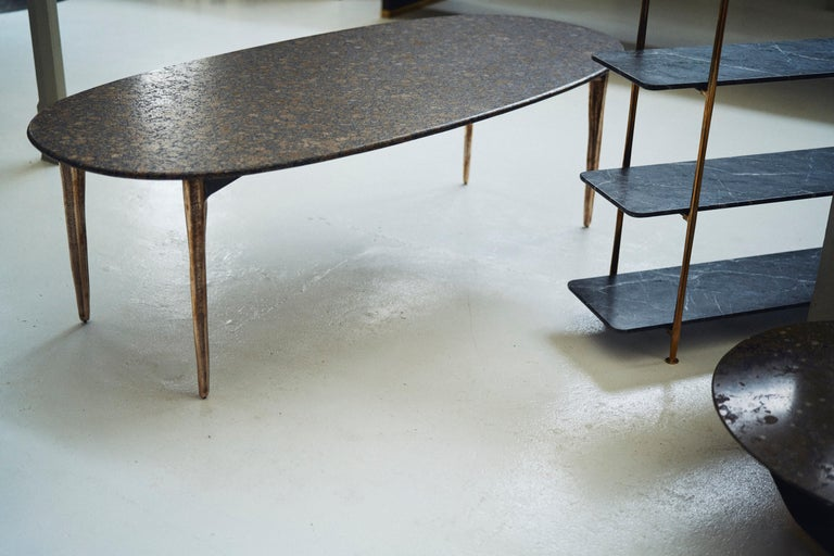 Barbera 'OSSO' Oval Dining Table, Modern Solid Bronze Base with Stone Top For Sale 1