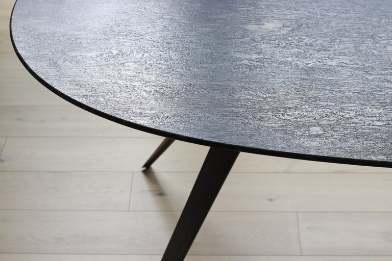 Contemporary Barbera Spargere Oval Table, Modern Solid Bronze Base with Granite Top For Sale