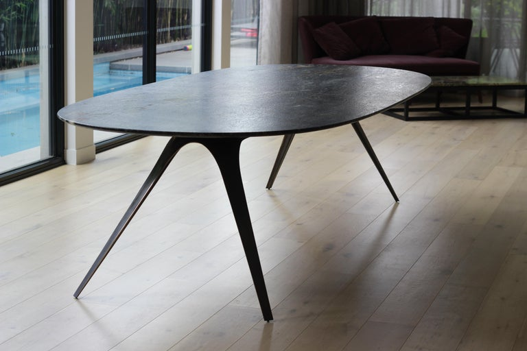 Metal Barbera Spargere Oval Table, Modern Solid Bronze Base with Granite Top For Sale
