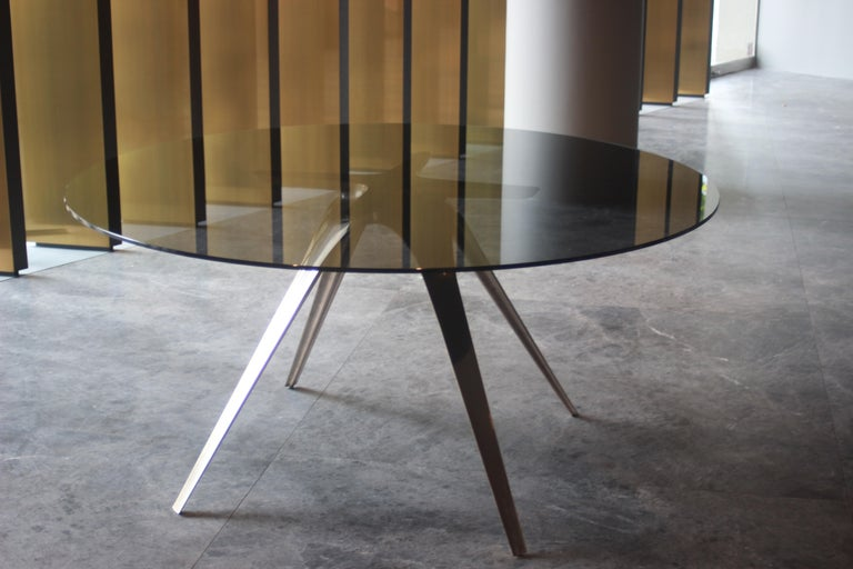 Australian Barbera Spargere Round Table, Modern Solid Bronze Base with Glass Top For Sale