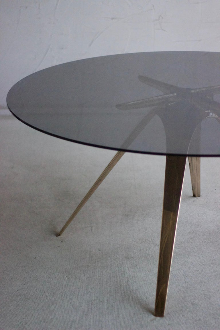 Contemporary Barbera Spargere Round Table, Modern Solid Bronze Base with Glass Top For Sale
