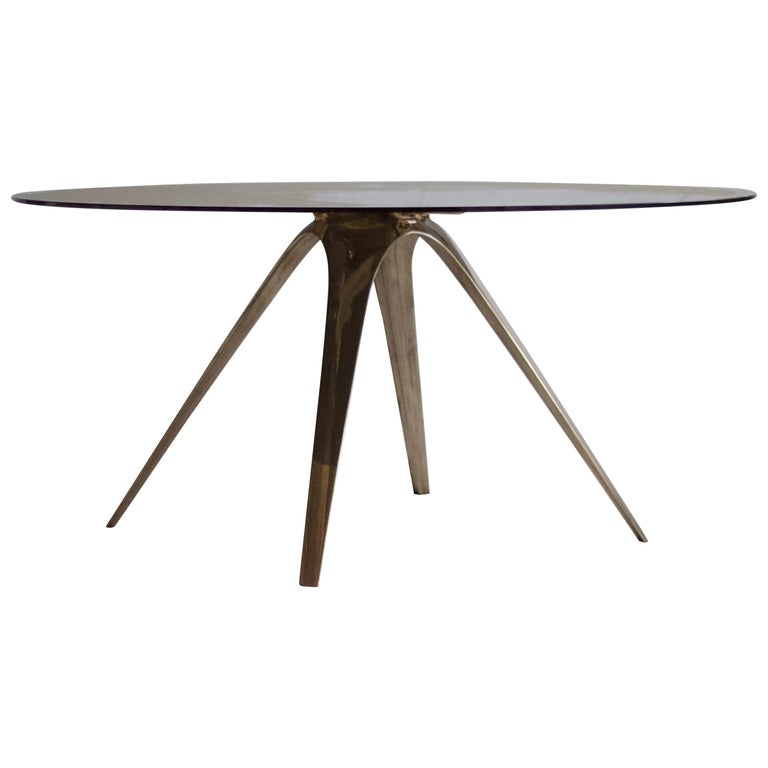 Barbera Spargere Round Table, Modern Solid Bronze Base with Glass Top For Sale