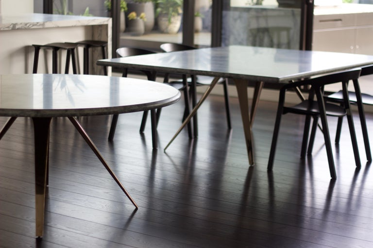 Designed by Daniel Barbera, the Spargere table inspired by organism evolution and how nature uses minimum form yet can create super strong structures. The four legged sandcast solid bronze organic form is hand finished to a smooth mirror polish,
